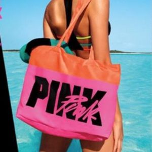 NEW💕VS PINK ORANGE & PINK LOGO BEACH TOTE BAG